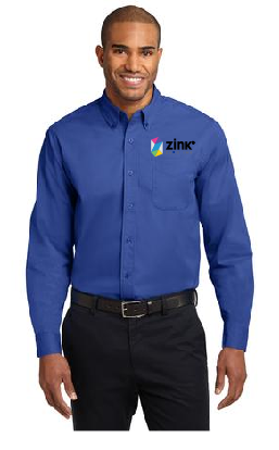 Mens Port Authority Long Sleeve Dress Shirt with embroidery