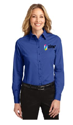 Ladies Port Authority Long Sleeve Dress Shirt with embroidery
