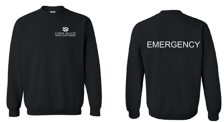 Gildan Crewneck Sweatshirt with Front Left Chest Print and Back Print