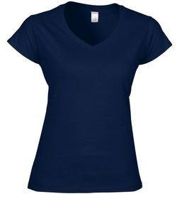 Gildan Women V-neck Short Sleeve Tshirt with Front Logo