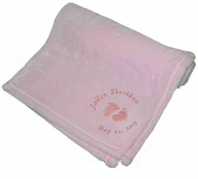 Personalized monogrammed baby blanket for girl embroidered with name and feet (pink)