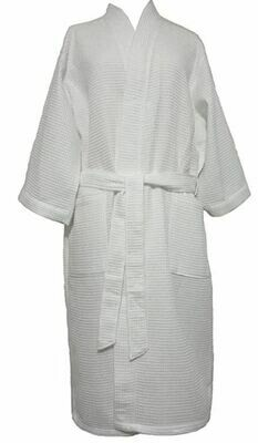 Waffle Kimono White Robe Personalized Customized Monogram Cotton Blend Custom Embroider Hotel Style Spa Bath Pool