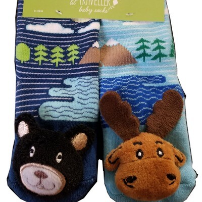 Plush Stuffed Animal Socks Lil Traveler Comfortable Warm Bear and Moose Toddler Discovery Feet Finders