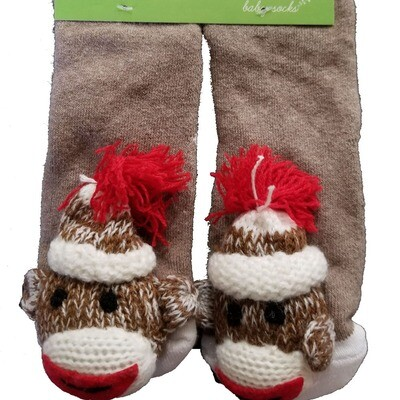 Plush Stuffed Animal Socks Lil Traveler Comfortable Warm Monkey Toddler Discovery Feet Finders