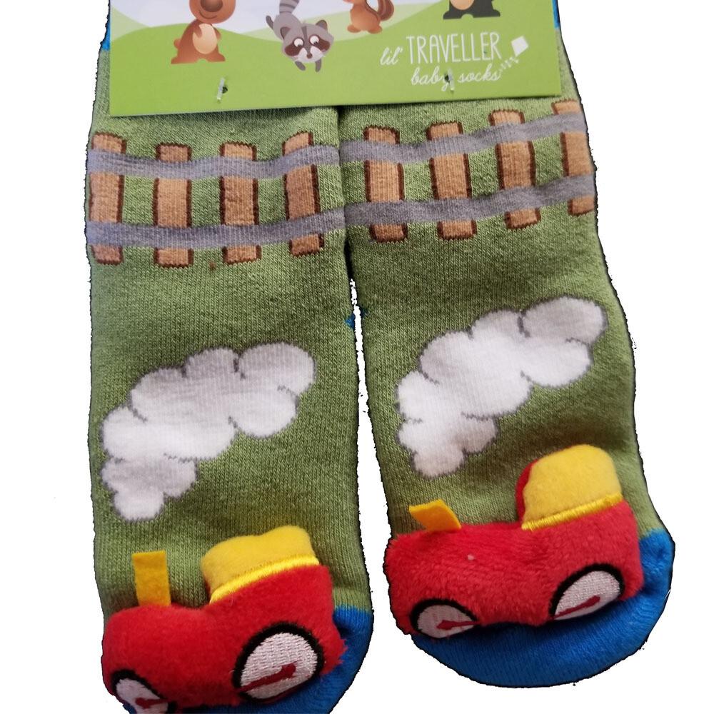 Plush Stuffed Animal Socks Lil Traveler Comfortable Warm Train Toddler Discovery Feet Finders