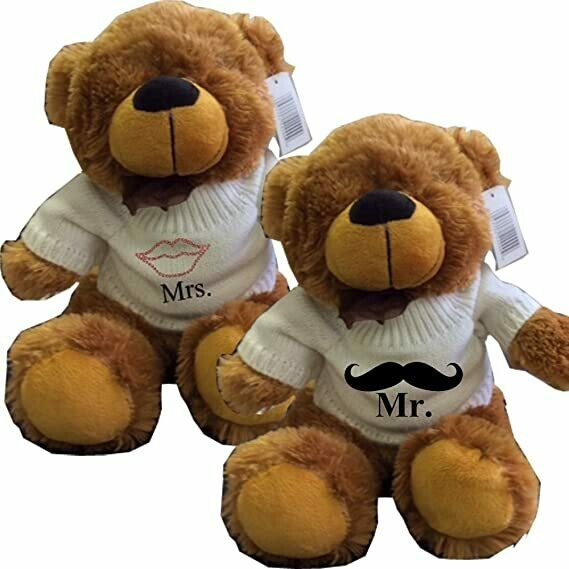 Mr and Mrs Couples Set of Marriage Brown Teddy Bears with Sweater Rhinestone Lips and Handlebar Mustache