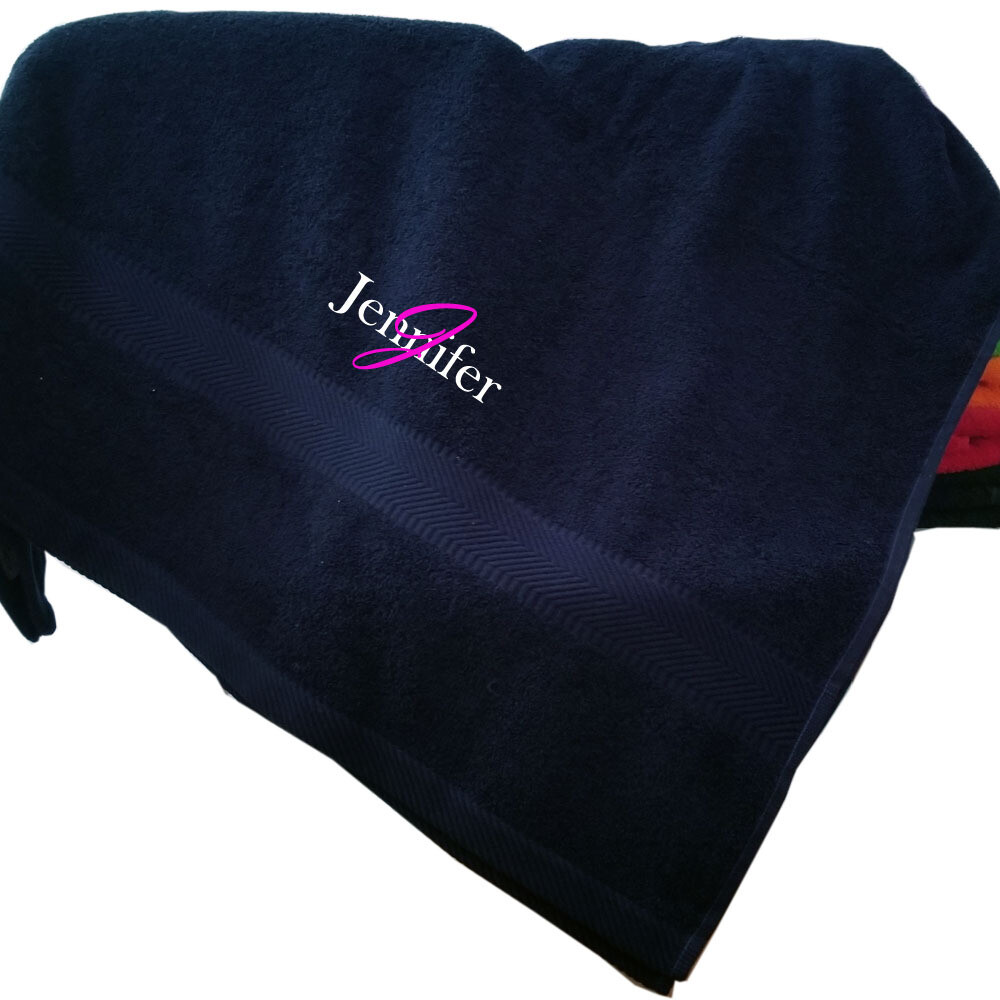 Personalized Monogrammed Bath Towels Embroidered 35 x 65 Soft Plush Absorbent