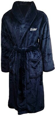 Microfiber Plush Luxury Robe Customize Monogram Personalized (Navy Blue)