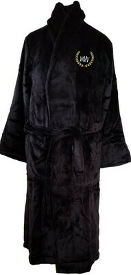 Microfiber Plush Luxury Robe Customize Monogram Personalized (Black)