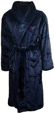 Women's Microfiber Plush Luxury Robe Customize Monogram Personalized (Navy Blue)