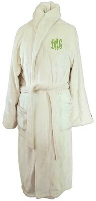 Women's Microfiber Plush Luxury Robe Monogram Personalized Beige