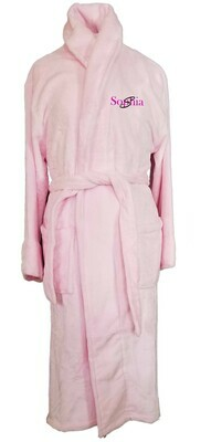 Women's Microfiber Plush Luxury Robe Monogram Personalized Pink