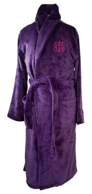 Women's Microfiber Plush Luxury Robe Monogram Personalized Purple