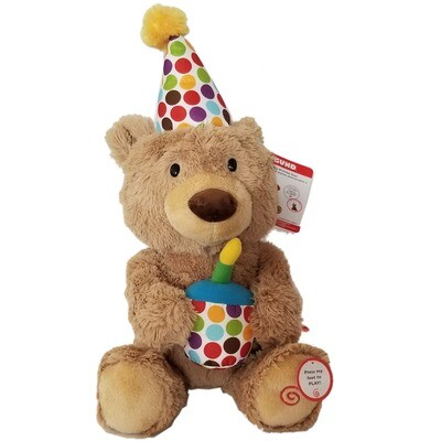 Happy Birthday Bear Plush Animated Singing Blows Out Candle Holds Cupcake Telegram 12 inches