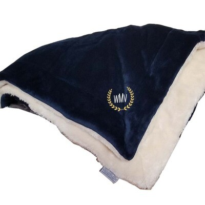 Personalized Throw Blanket Monogrammed Fleece Sherpa Like Reversible (Blue)