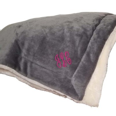 Personalized Throw Blanket Monogrammed Fleece Sherpa Like Reversible (Grey)