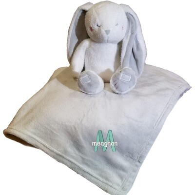 Personalized Kids Blanket Bunny Plush Two Piece Set Name Embroidered Grey Throw 30 x 40