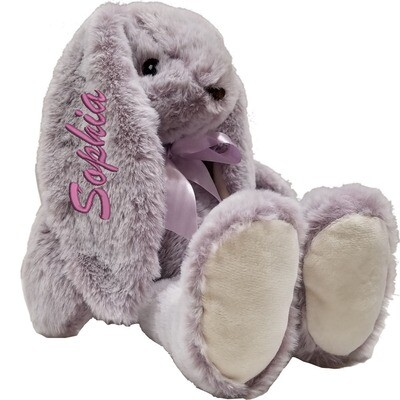 Personalized Plush Bunny Embroidered Name on 4 inch Ear 13 inches Purple Stuffed Animal Room décor