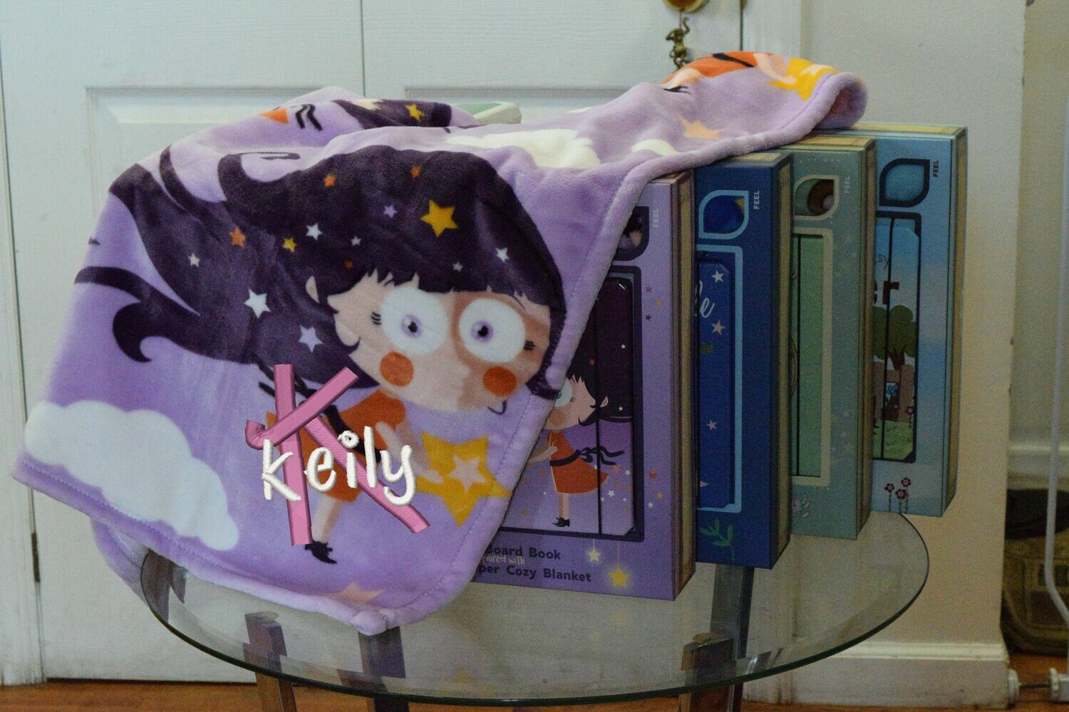 Nursery Rhyme Book and Personalized Embroidered Blanket Children Gift Set (Purple)