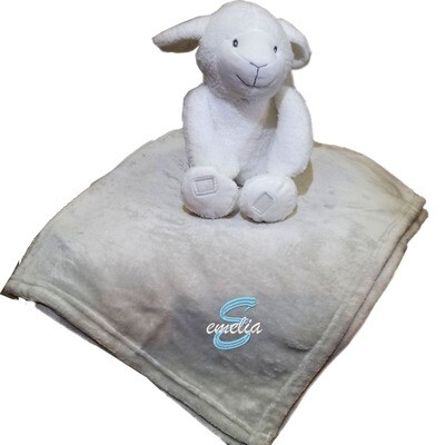 Personalized Kids Blanket Lamb Plush Two Piece Set Name Embroidered Grey Throw 30 x 40