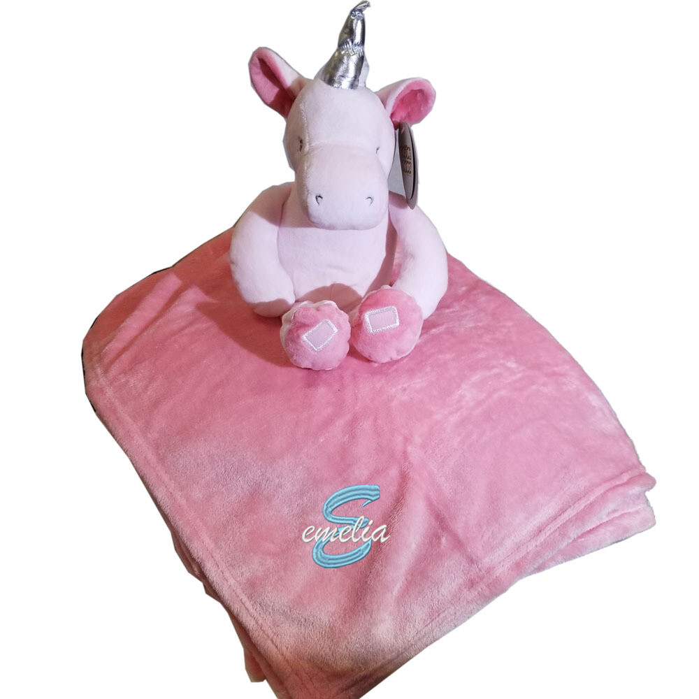 Personalized Kids Blanket Unicorn Plush Two Piece Set Name Embroidered Pink Throw 30: x 40