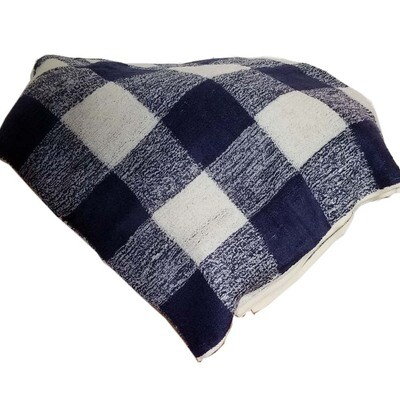 "Throw Blanket Plaid Blue White Plush Warm 50"" x 60"" inches Plaid Pattern"