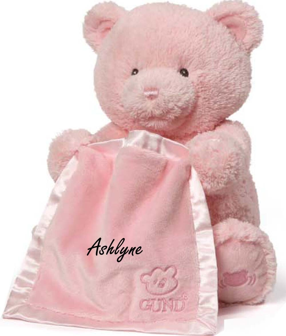 Personalized Customized Animated Peek A Boo Bear Monogrammed Embroidered Name Blanket Teddy Bear