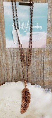 Wild Abandon Large Necklace - Copper Dangly Feather