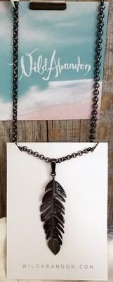 Wild Abandon Large Necklace - Dangly Black Feather