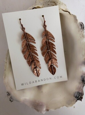 Wild Abandon Large Dangly Feather Earrings - Copper
