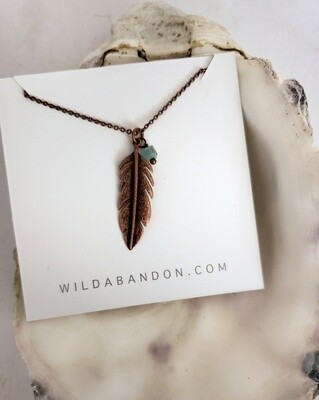 Wild Abandon Small Necklace - Copper Feather with Blue Bead