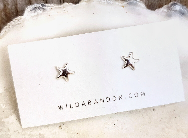 Wild Abandon Small Silver Stud Earrings - Stars