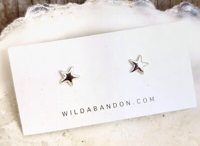 Wild Abandon Small Silver Stud Earrings - Stars