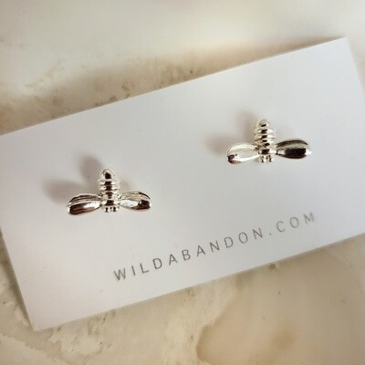 Wild Abandon Small Silver Stud Earrings - Bees