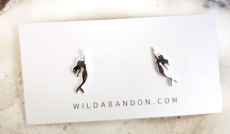 Wild Abandon Small Silver Stud Earrings - Mermaids