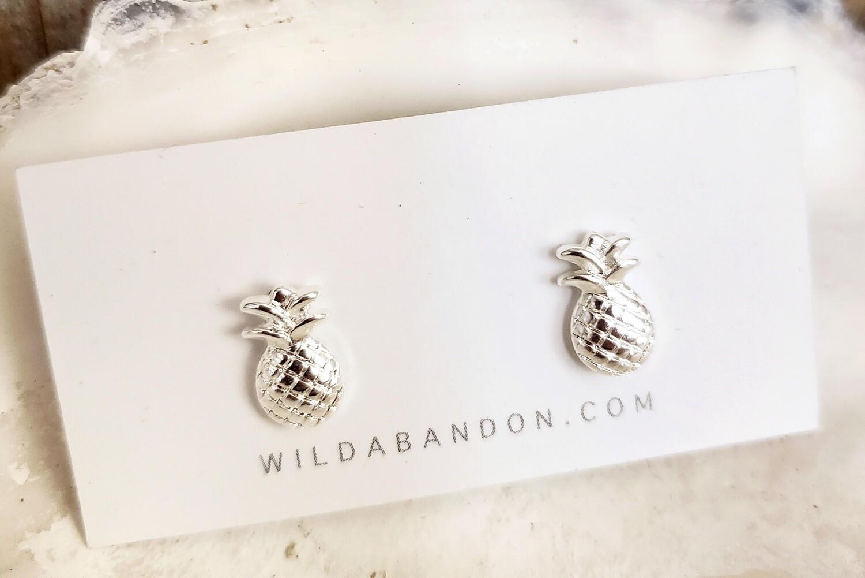 Wild Abandon Small Silver Stud Earrings - Pineapples