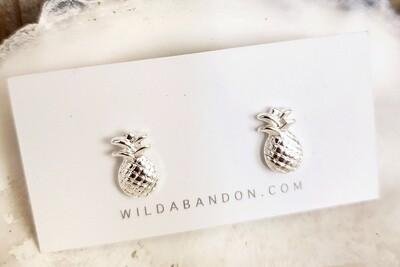 Wild Abandon Small Silver Stud Earrings - Pineapples