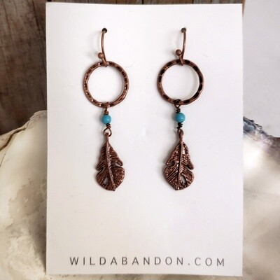 Wild Abandon Smooth Copper Feather Earrings with hoops and blue beads