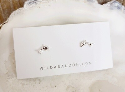 Wild Abandon Small Silver Stud Earrings - Dolphins