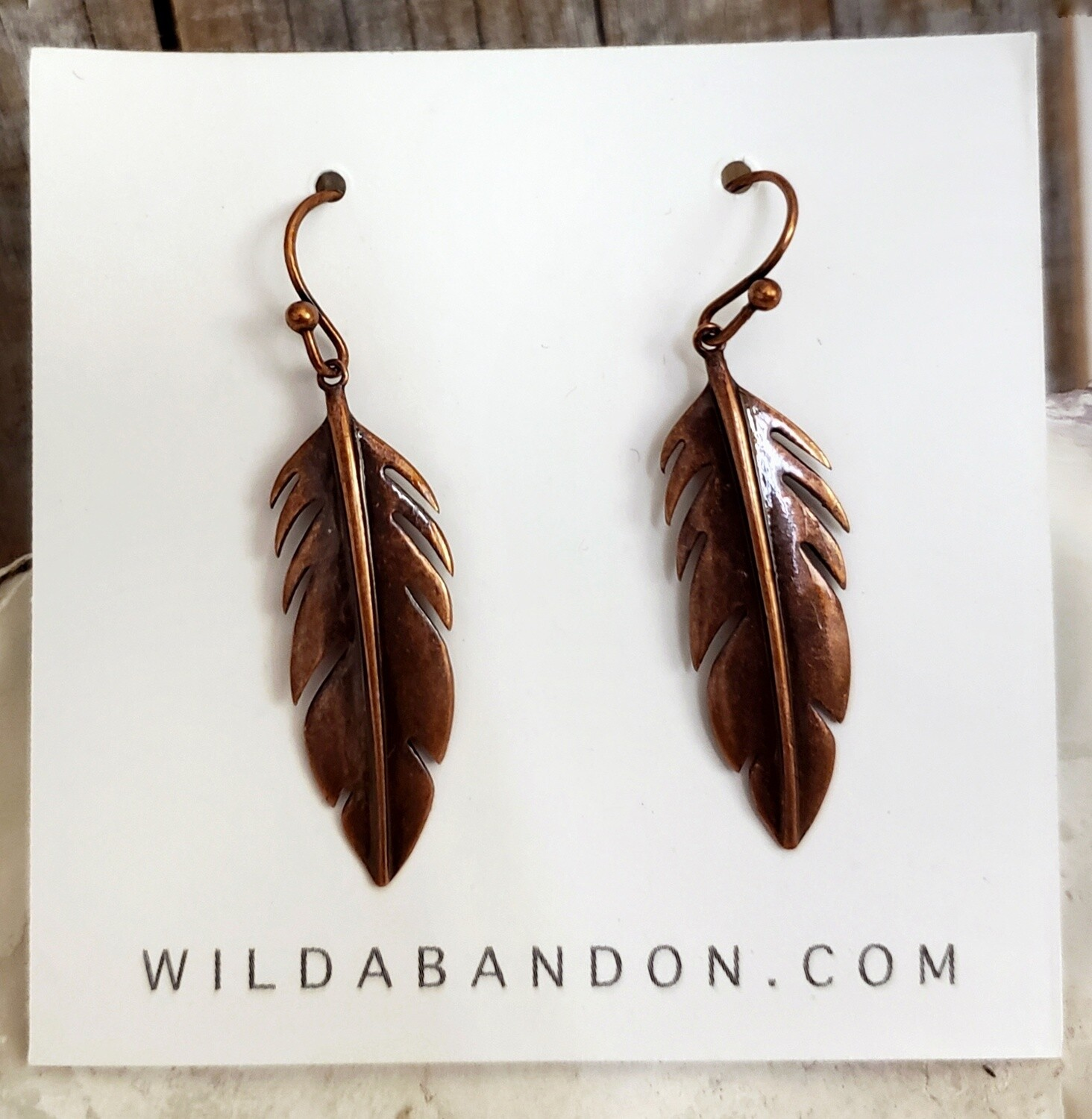 Wild Abandon Smooth Feather Earrings - Copper