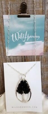 Wild Abandon Large Necklace - Silver Black Bead Tree