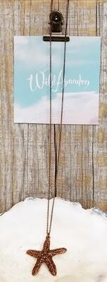 Wild Abandon Small Necklace - Copper Textured Sea Star