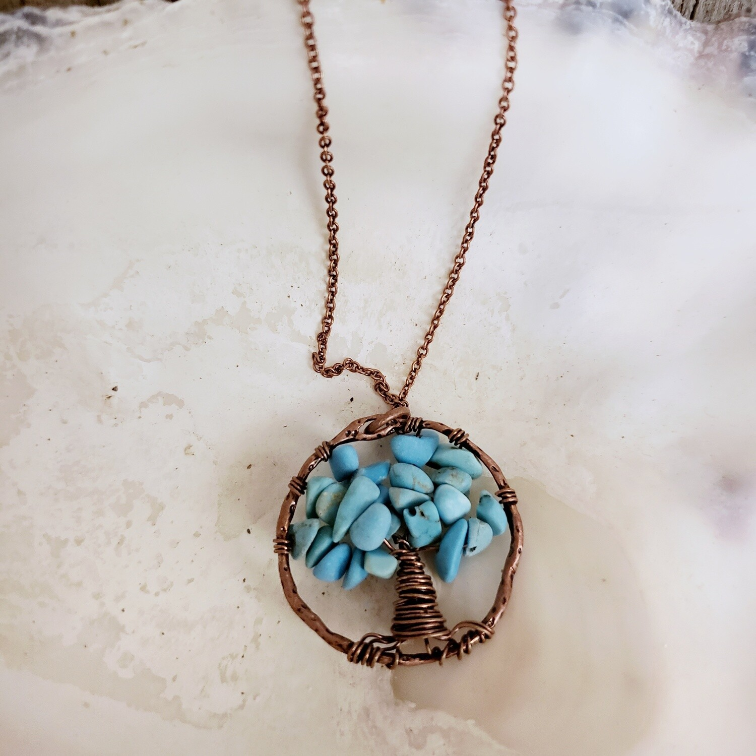 Wild Abandon Small Necklace - Copper Turquoise Bead Tree