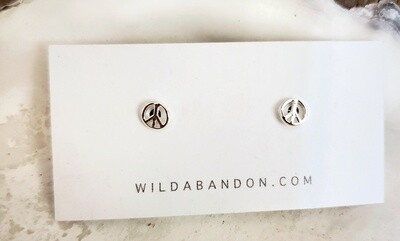 Wild Abandon Small Silver Stud Earrings - Peace Signs