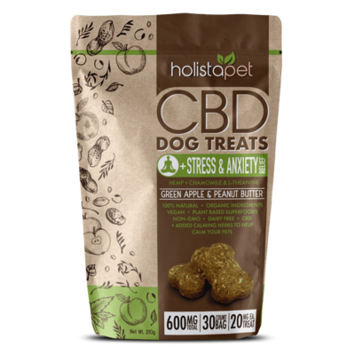 HolistaPet CBD Dog Treats + Stress & Anxiety Relief for Dogs 20-60 lbs (600mg) Green Apple