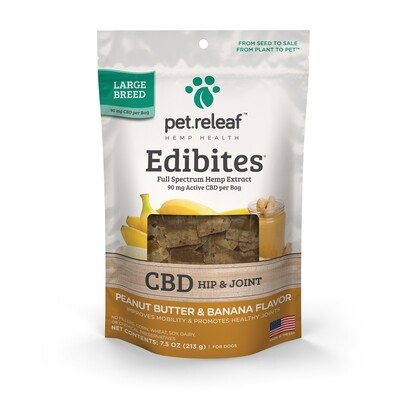 Pet Releaf CBD Edibites For Dogs 50-160 lbs (150mg) Peanut Butter and Banana