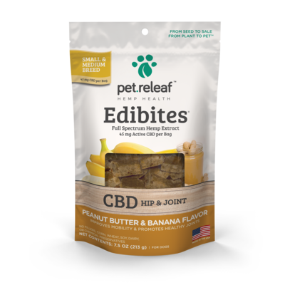 Pet Releaf CBD Edibites  For Dogs 5-50 lbs (60mg) Peanut Butter and Banana