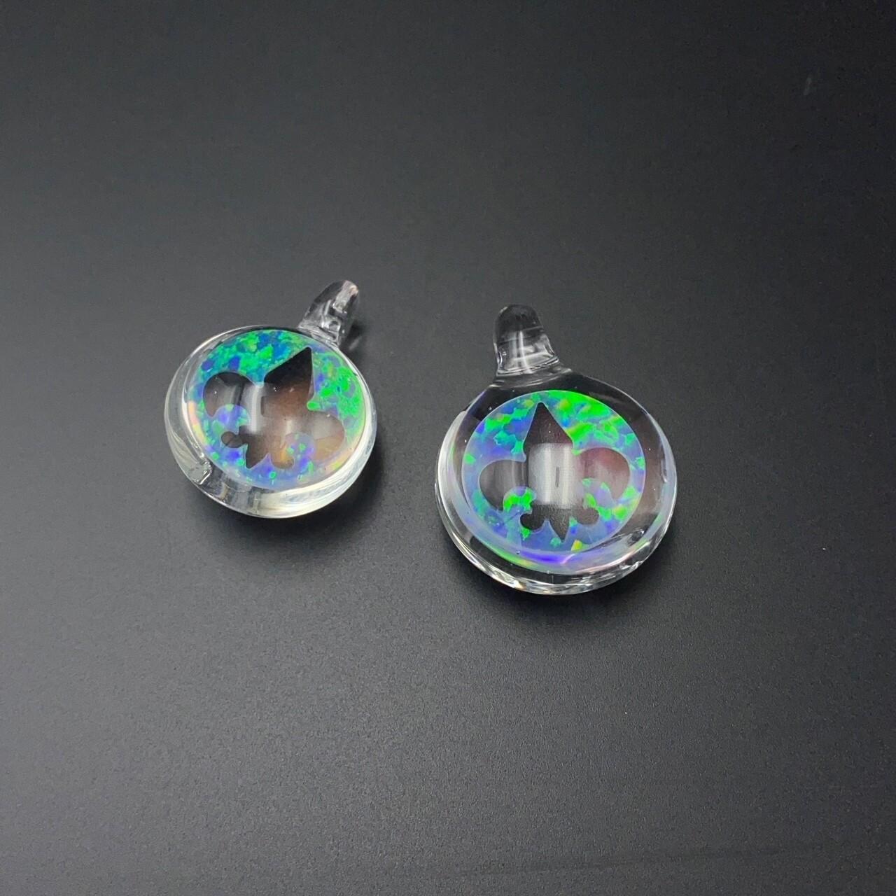 Cajun Glass (CO) Opal Pendant - Fleur De Lis Outline