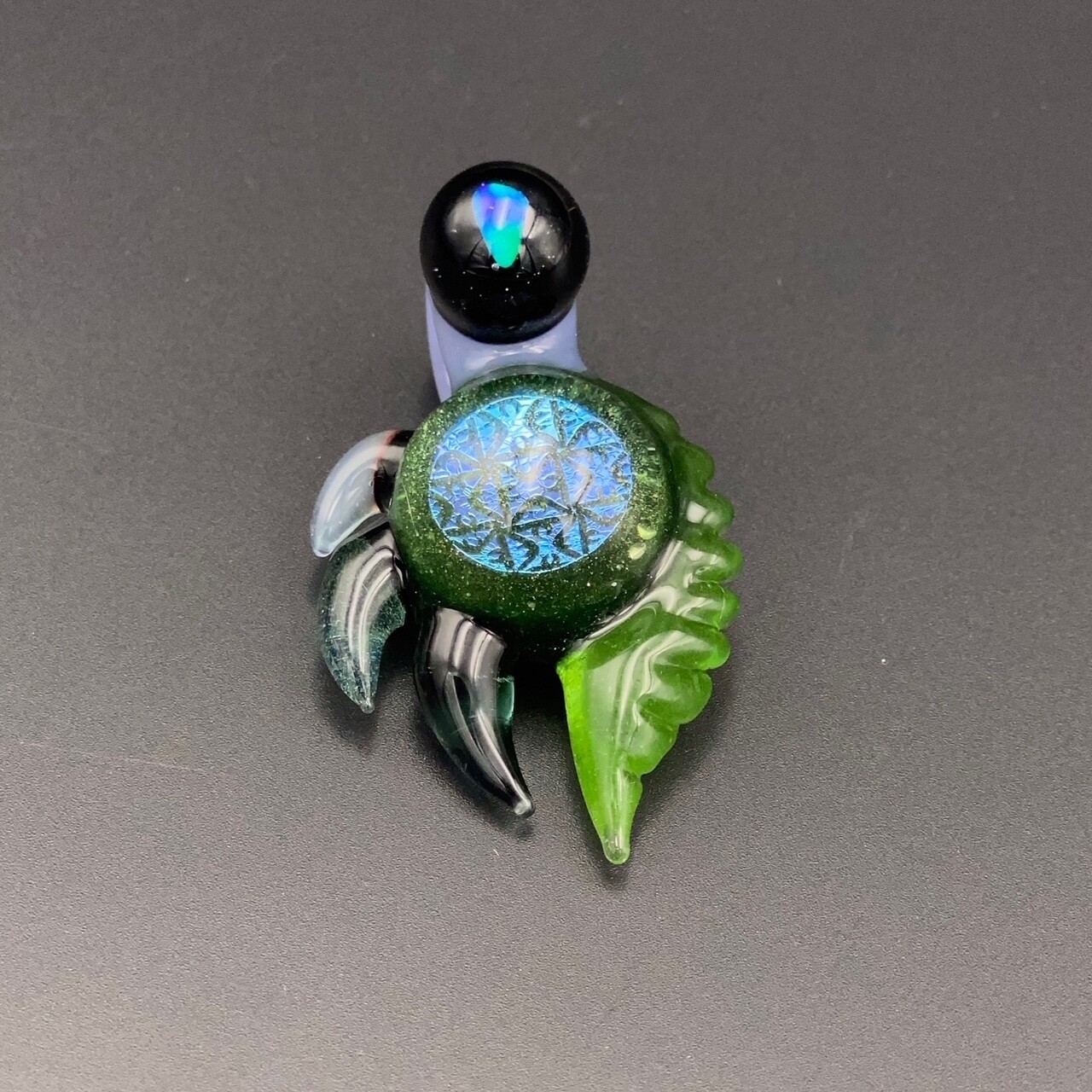 Yeff Glass (FL) Dichro Image Pendant w Horns & Opal Bail - Blue & Green