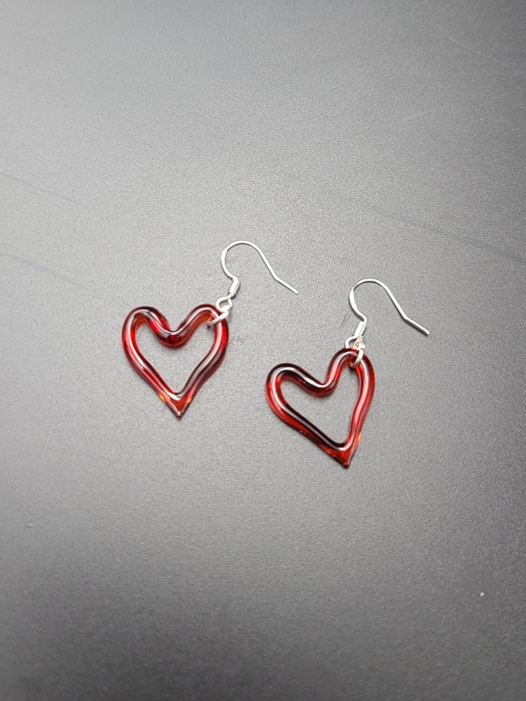 Marni (CO) Heart Outline Earring Set - Red